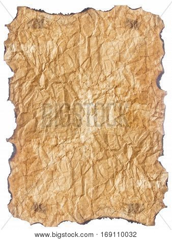 texture of crumpled old paper with burnt edges isolated on white background