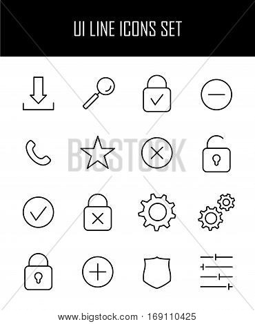 Set of UI icons in modern thin line style. High quality black outline symbols for web site design and mobile apps. Simple interface pictograms on a white background.