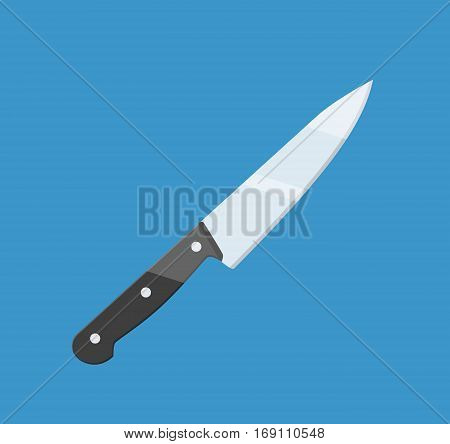 cooking knife icon isolated on blue background. vector illustration in flat style