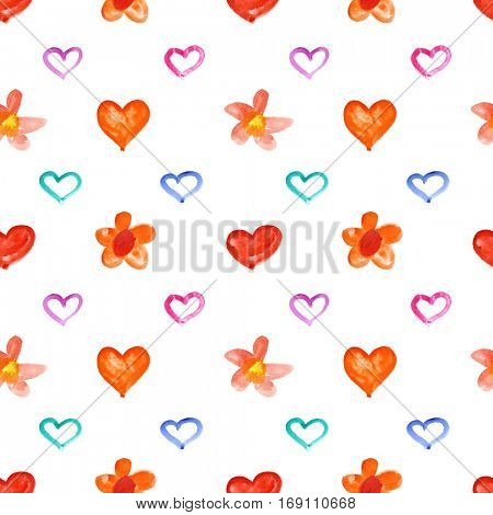 Showy watercolor hearts and flowers - raster seamless pattern