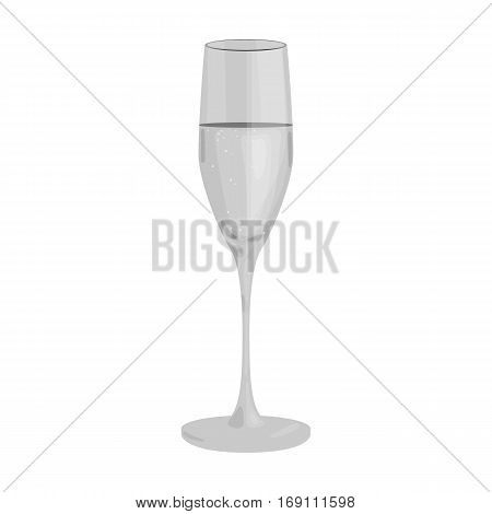 Glass of champagne icon in monochrome design isolated on white background. Wine production symbol stock vector illustration.