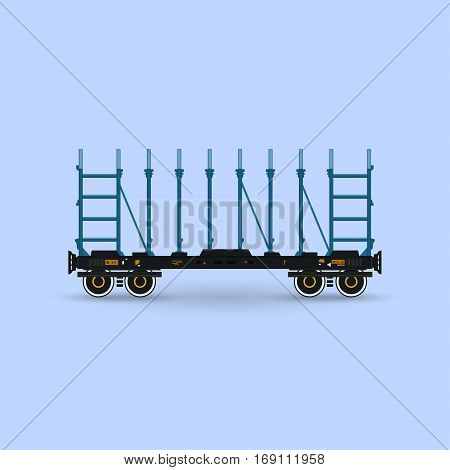 Railway Platform Isolated on Blue Background, Railway Transport ,Platform for Transportation of Bulk Cargo and Long Cargo and for Timber Transportation