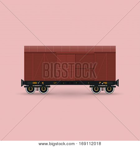Closed Wagon Isolated on Pink Background, Railway Transport ,Covered Freight Car for Transportation of Goods