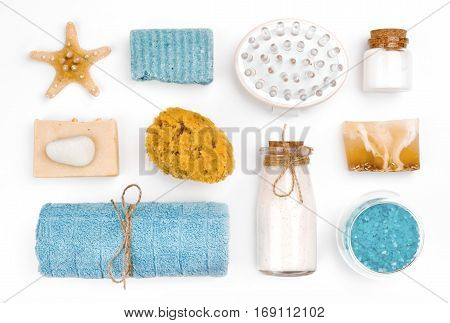Various spa and wellness objects isolated on white background