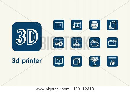 It is a set of three d printer simple web icons