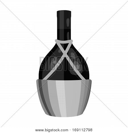 Bottle of wine icon in monochrome design isolated on white background. Wine production symbol stock vector illustration.