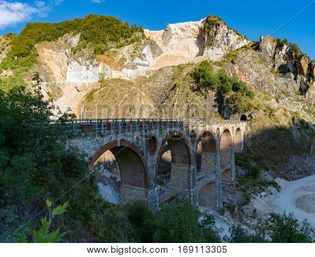 White marble quarries of Carrara in the Apuan alps Italy