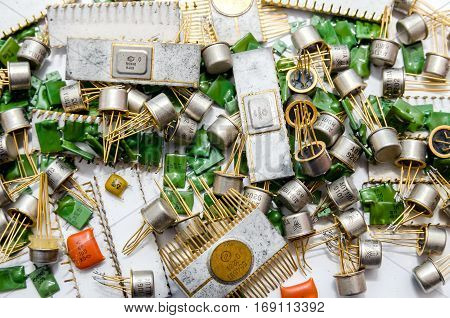 Background pile of old capacitors close up