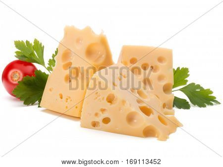 Cheese block isolated on white background cutout