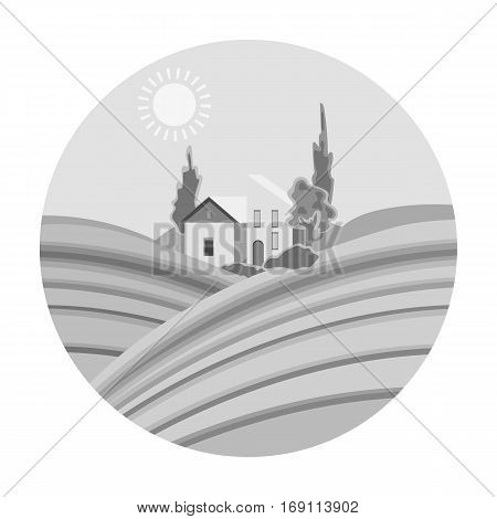Lodge with vineyards icon in monochrome design isolated on white background. Wine production symbol stock vector illustration.