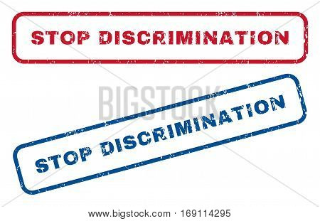 Stop Discrimination text rubber seal stamp watermarks. Vector style is blue and red ink caption inside rounded rectangular shape. Grunge design and dust texture. Blue and red stickers.