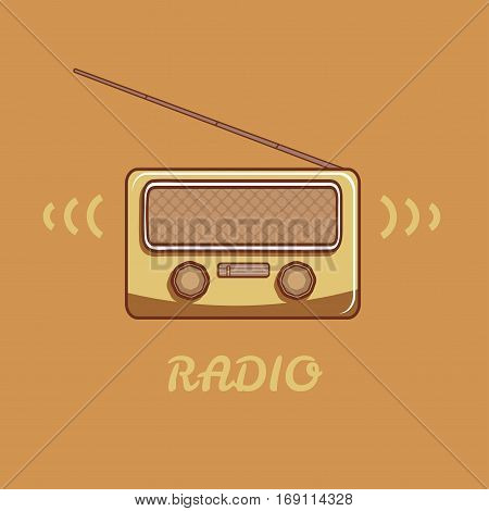 Vector radio in retro style. Radio has a raised antenna.