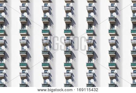 seamless architecture pattern balcony with satellite dish