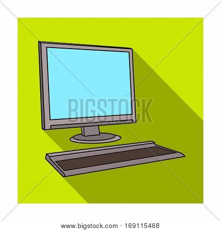 Computer icon in flat design isolated on white background. Architect symbol stock vector illustration.