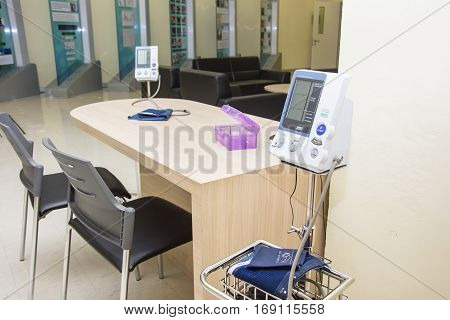 Blood Pressure Monitor Check Up Health And Culf On Desk