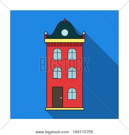 Building icon in flat design isolated on white background. Architect symbol stock vector illustration.