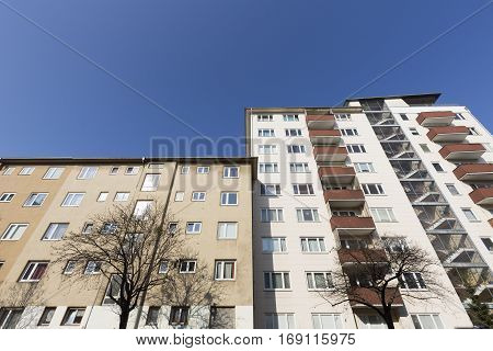 Social Housing With Blue Sky In Berlin