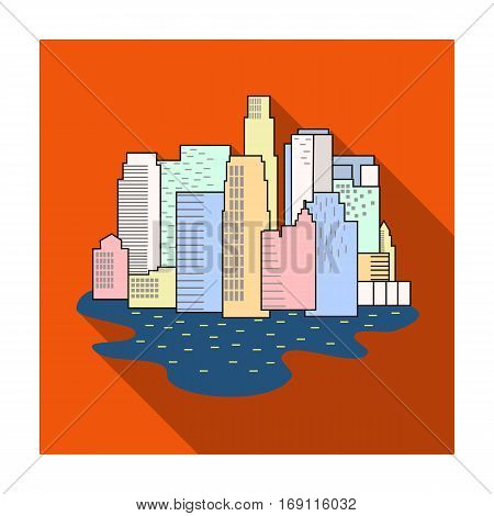 Megalopolis icon in flat design isolated on white background. Architect symbol stock vector illustration.