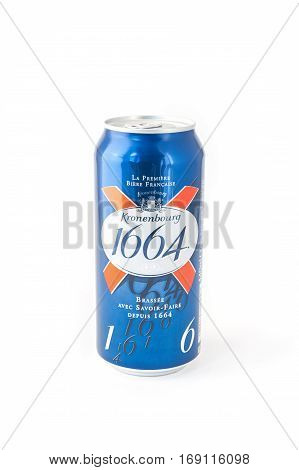 YATELEY, UK - FEBRUARY 6: Can of Kronenbourg 1664, a strong alcoholic beverage from the French Kronenbourg Brewery founded in 1664, now owned by the Carlsberg Group - Yateley, UK - February 6, 2017