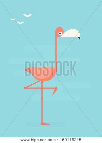 pink flamingo. flat character.