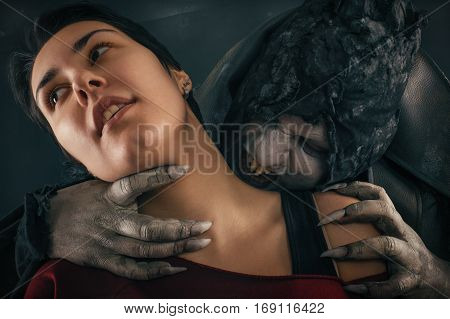 Ancient Monster Vampire Demon Bites A Woman Neck. Halloween Fantasy