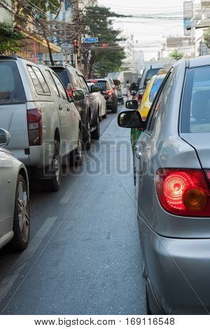 Many car with the traffic jam in bangkok capital city thailand