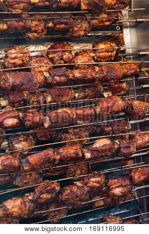 Fresh Pork Hocks grilling at the famous Vancouver Night Market