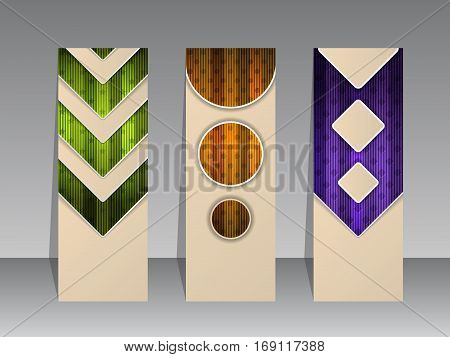 Abstract striped banner set of three with shadows