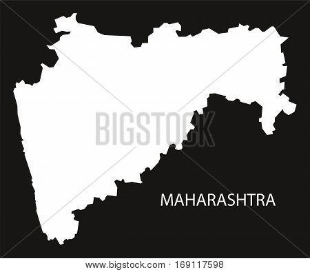 Maharashtra India Map black inverted silhouette graphic