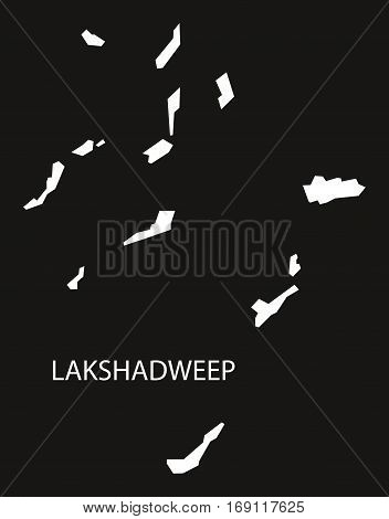 Lakshadweep India Map black inverted silhouette graphic