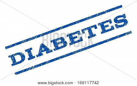 Diabetes watermark stamp. Text caption between parallel lines with grunge design style. Rotated rubber seal stamp with dust texture. Vector blue ink imprint on a white background.