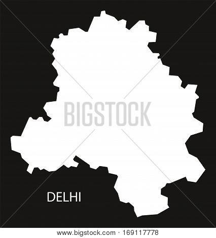 Delhi India Map black inverted silhouette graphic