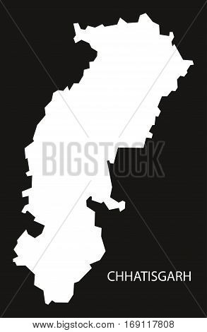 Chhatisgarh India Map black inverted silhouette graphic