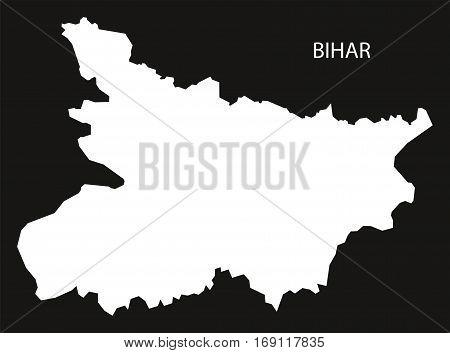Bihar India Map black inverted silhouette graphic