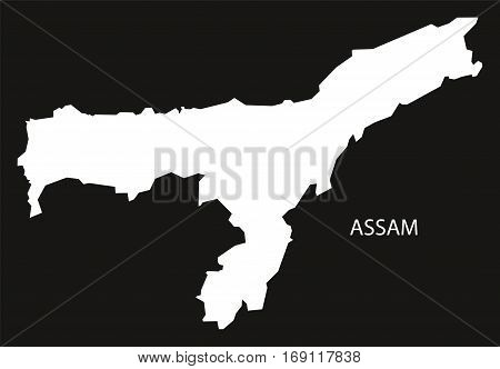 Assam India Map black inverted silhouette graphic