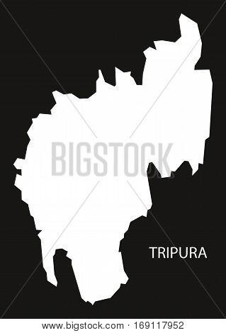 Tripura India Map black inverted silhouette graphic