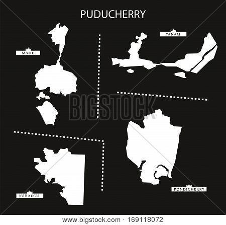 Puducherry India Map black inverted silhouette graphic