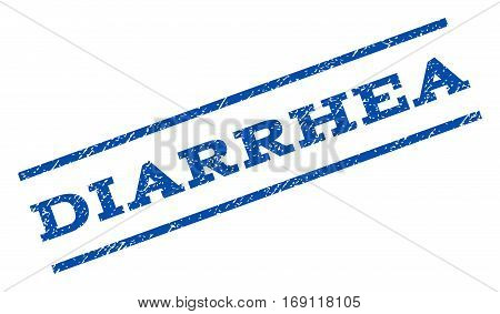 Diarrhea watermark stamp. Text caption between parallel lines with grunge design style. Rotated rubber seal stamp with dirty texture. Vector blue ink imprint on a white background.