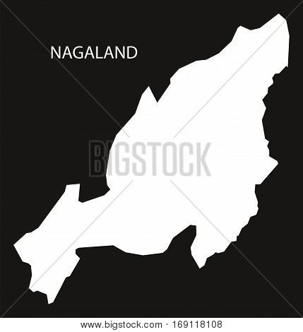 Nagaland India Map black inverted silhouette graphic