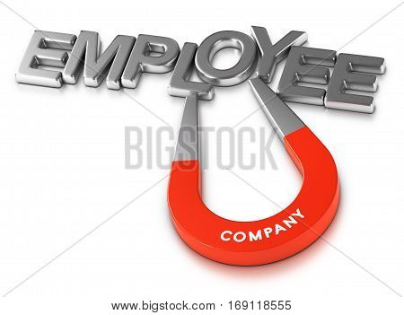 Horseshoe magnet attracting the word employee over white background 3d illustration of staff retention program or attractive employer.