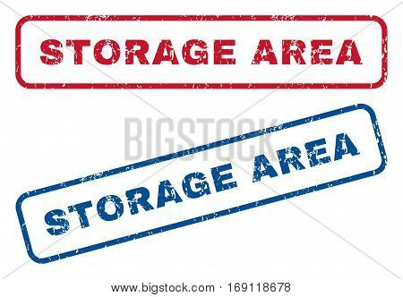 Storage Area text rubber seal stamp watermarks. Vector style is blue and red ink caption inside rounded rectangular shape. Grunge design and scratched texture. Blue and red signs.