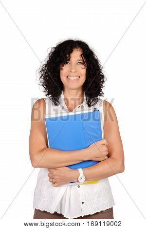 Portrait of beautiful school teacher holding books. Education concept. Isolated white background.