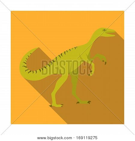 Dinosaur Gallimimus icon in flat design isolated on white background. Dinosaurs and prehistoric symbol stock vector illustration