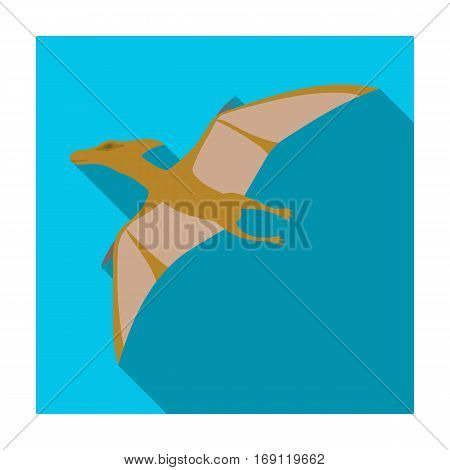 Dinosaur Pterodactyloidea icon in flat design isolated on white background. Dinosaurs and prehistoric symbol stock vector illustration.