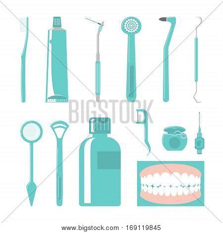 Dental Care Items. Vector Illustration Of Hygene Equipments