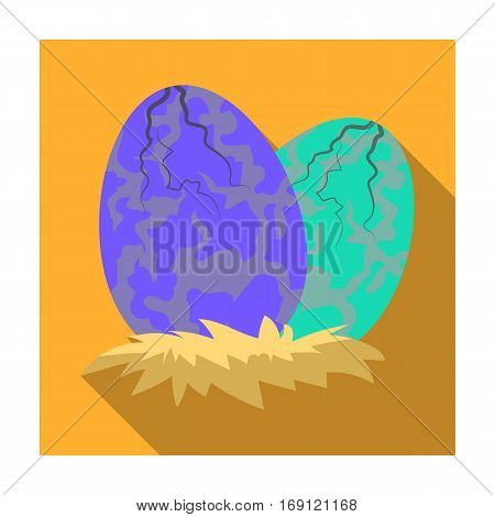 Eggs of dinosaur icon in flat design isolated on white background. Dinosaurs and prehistoric symbol stock vector illustration.