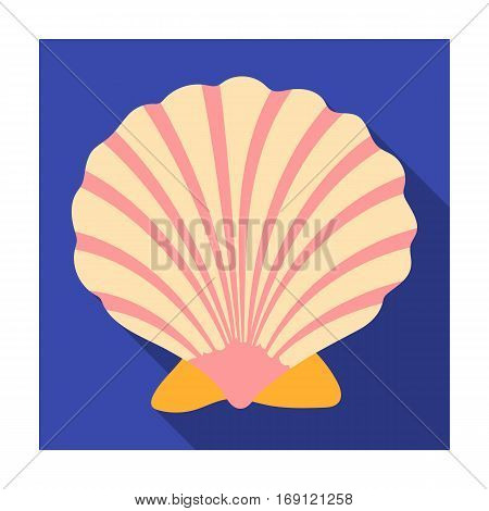 Prehistoric seashell icon in flat design isolated on white background. Dinosaurs and prehistoric symbol stock vector illustration.
