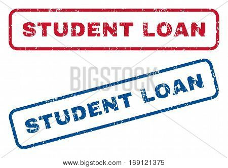 Student Loan text rubber seal stamp watermarks. Vector style is blue and red ink tag inside rounded rectangular banner. Grunge design and scratched texture. Blue and red stickers.
