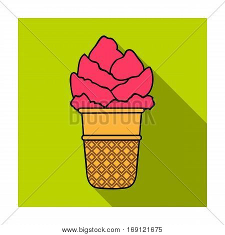Ice cream in waffle cup icon in flat design isolated on white background. Ice cream symbol stock vector illustration.
