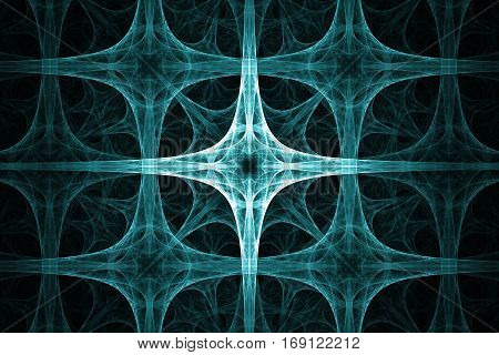 Cyan spikes cross design. Abstract background. Isolated on black background.